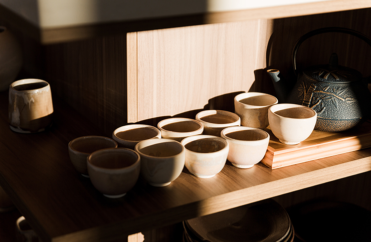 A shot of several small, handcrafted ceramic bowls.