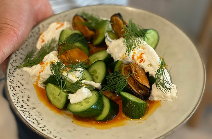a close-up shot of a cucumber and white cheese dish