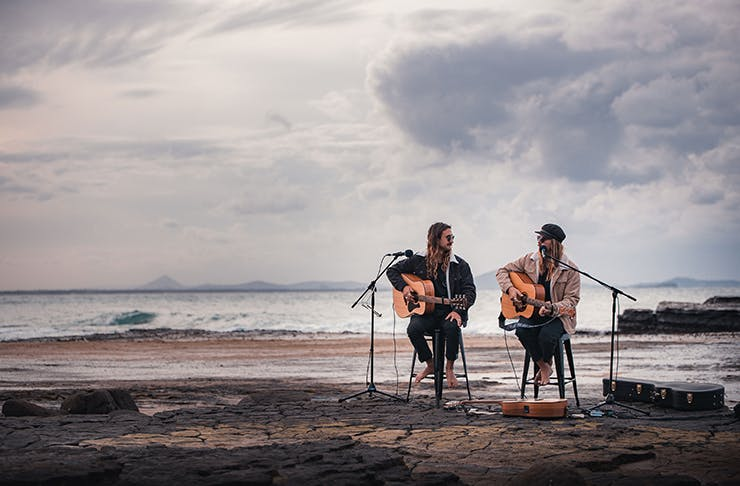 A shot of indie-folk due The Dreggs playing a set at Point Cartwright.