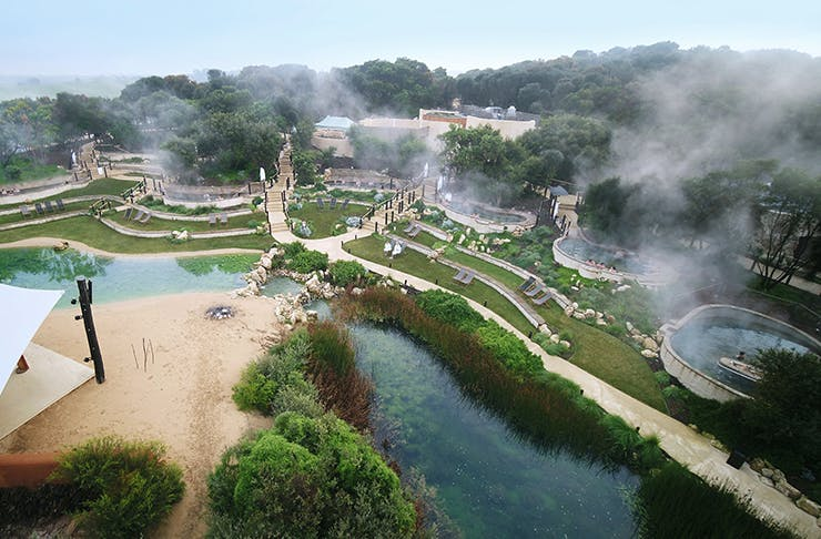 An aerial shot of the Peninsula Hot Springs.