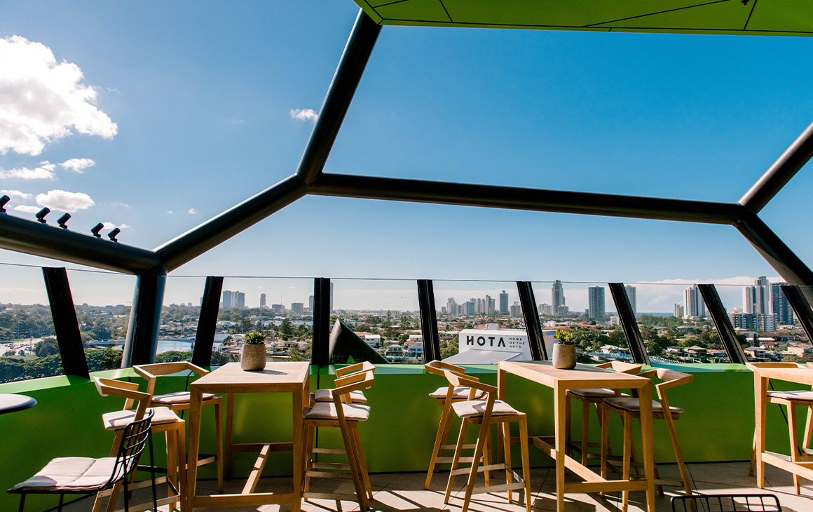 a rooftop bar overlooking the gold coast