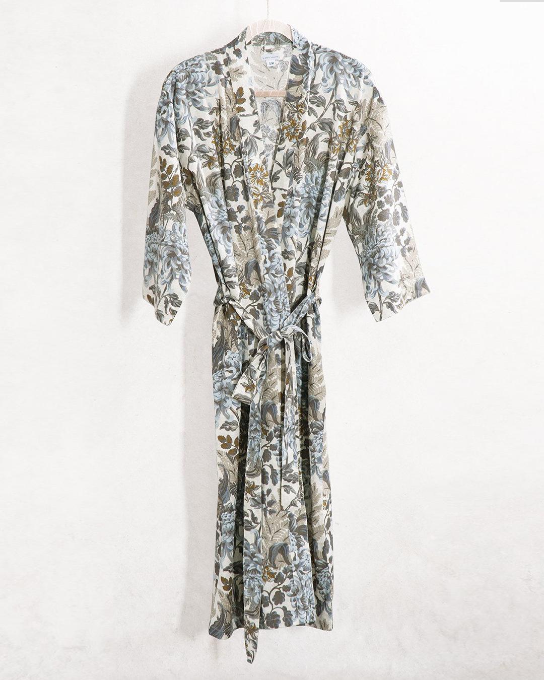 A natural-toned botanical housecoat.