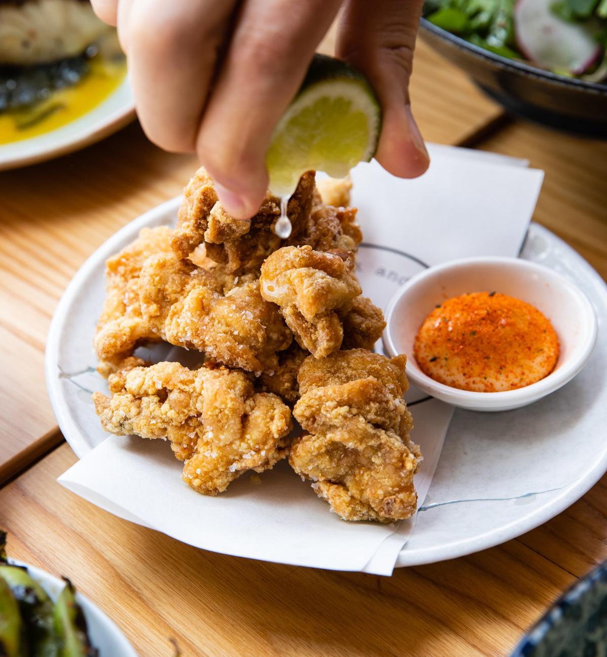 a plate of karaage chicken
