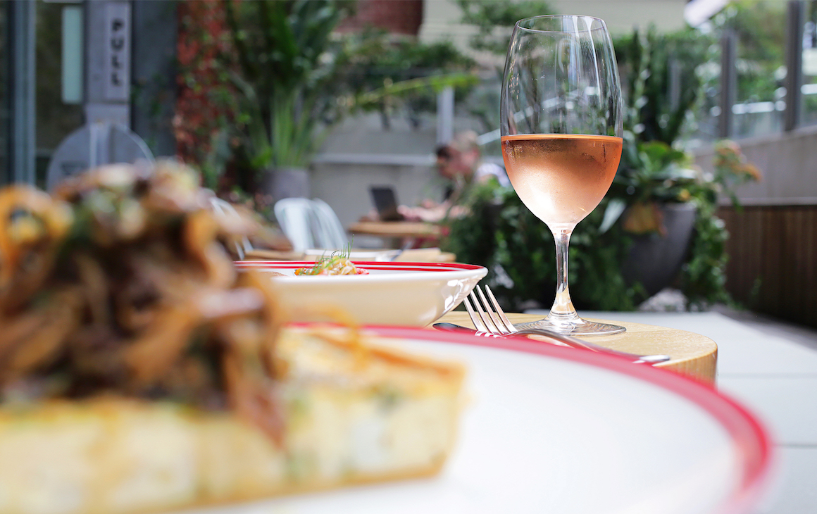 wine and dishes from The Humble Onion