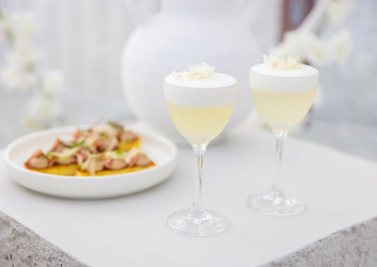 Cocktails and canapes at Igloos on the Pier.