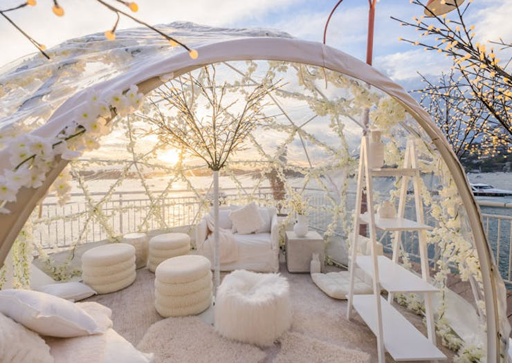 The pop-up igloo suite at Pier One hotel in Sydney, with Walsh Bay in the background.
