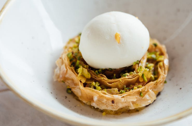 baklava with ice cream