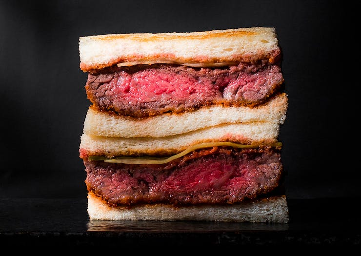 side on view of a wagyu sando