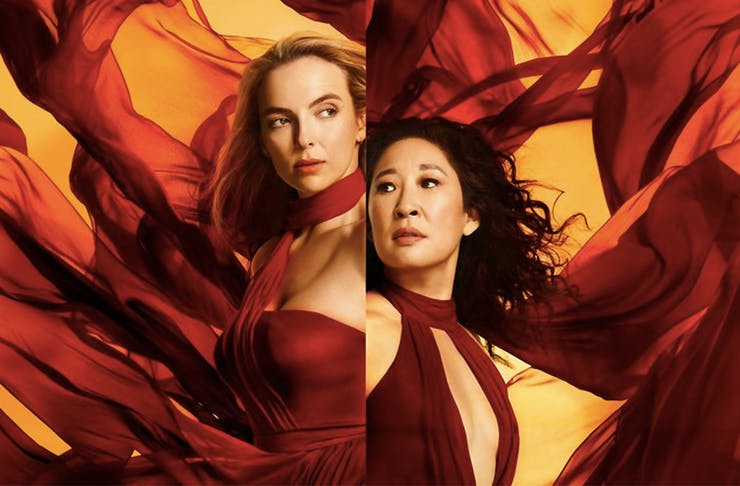 Jodie Comer as Villanelle in a split image with Eve Polastri, played by Sandra Oh