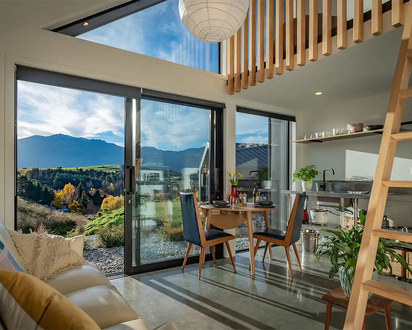 The interior of the Kiwi Chalet in Otago.