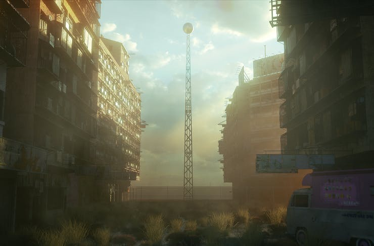 A dystopian scene showing huge containers.