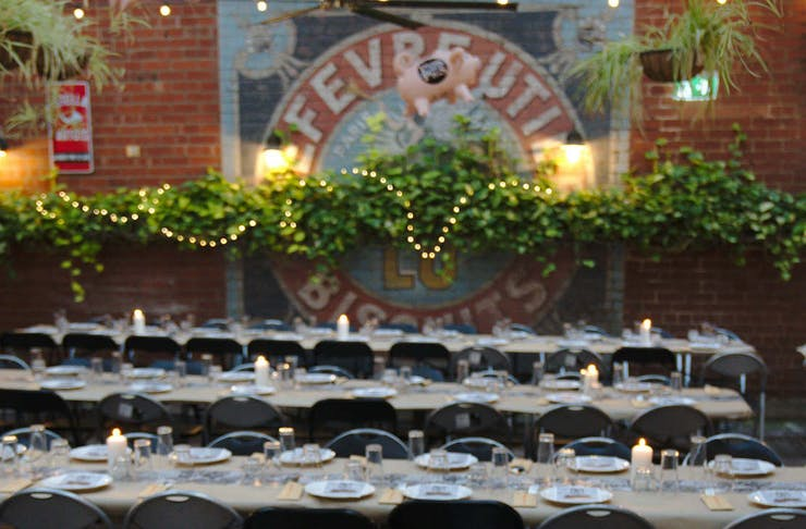 long tables at The Belgian Beer Cafe
