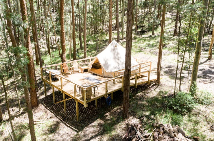 A glamping tent set-up in the bush.