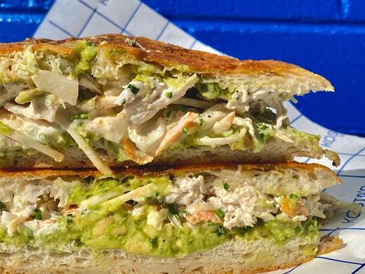 A poached chicken sandwich from Kosta's