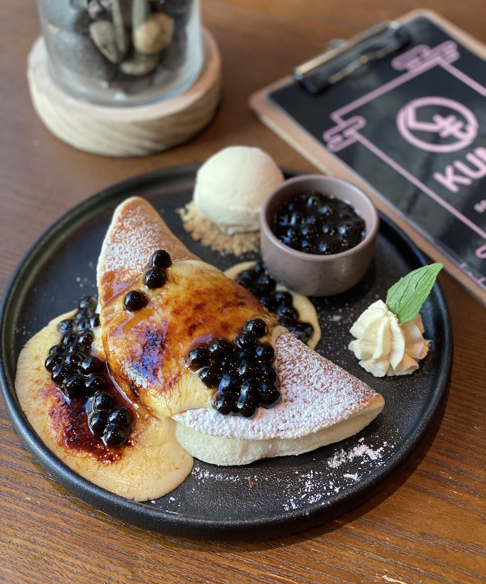 Kumo's Japanese souffle pancakes topped with boba