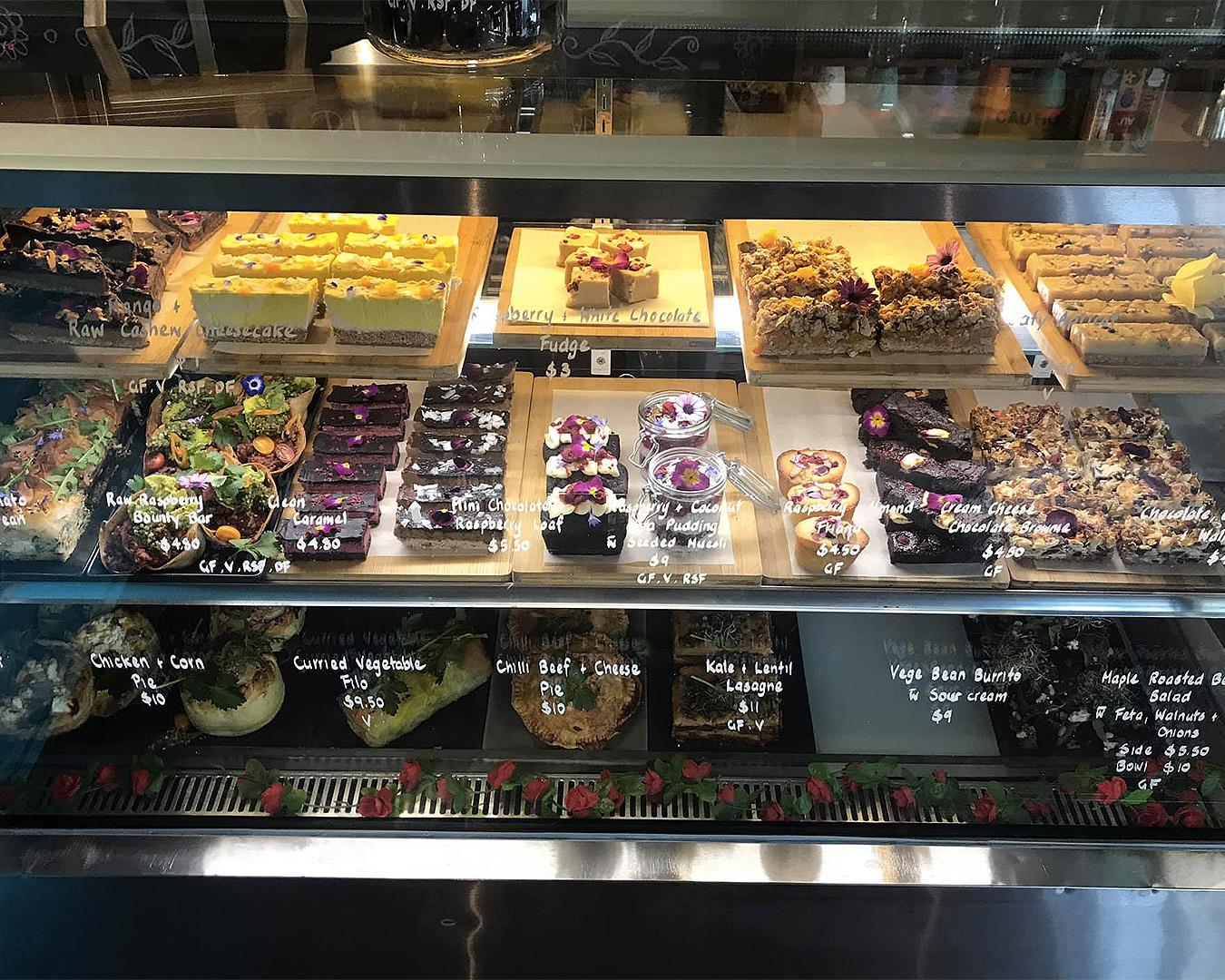 The impressive cabinet at Kush Coffee.