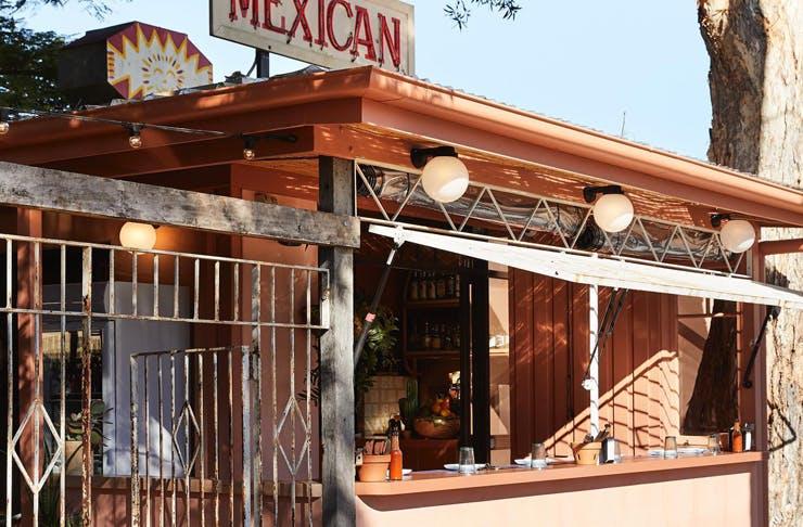 The terracotta-coloured exterior of Mexican restaurant, La Casita.