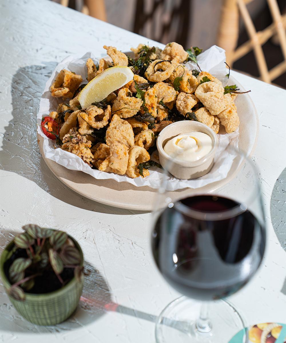 a plate of crispy fried calamari