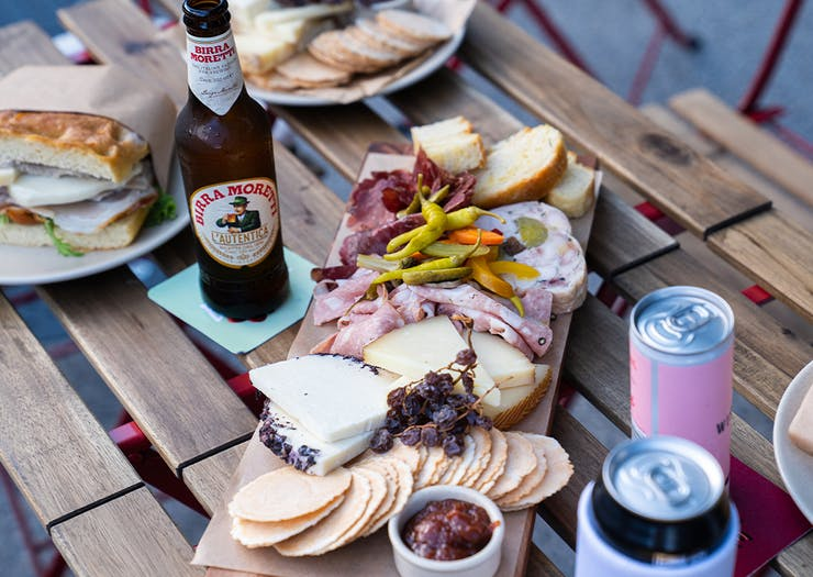 a charcuterie board on a table
