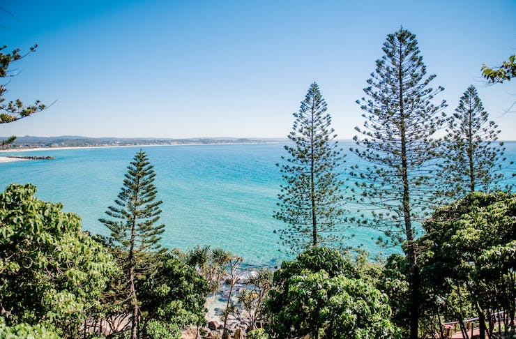 A scenic image of the ocean at Coolangatta on the Gold Coast.