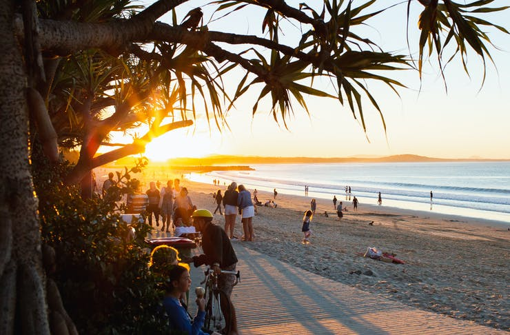 The sun is setting behind a pandanus palm at a bustling Noosa Main Beach.