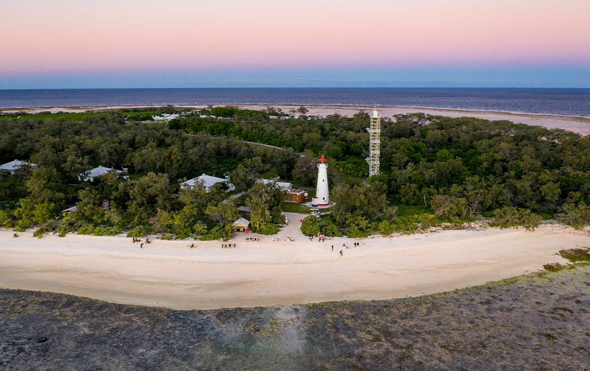 Lady Elliot Island seen from the air under a pink sky