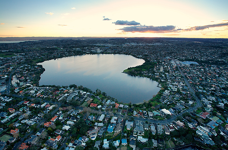Lake Pupuke, a volcanic crater lake in Takapuna on the North Shore