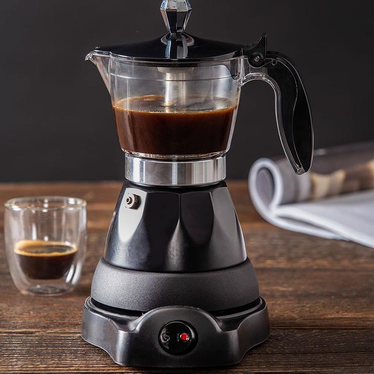 A black home coffee machine.