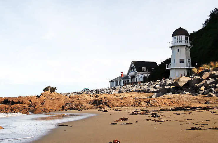 A view of the outside of the Lighthouse in Island Bay.