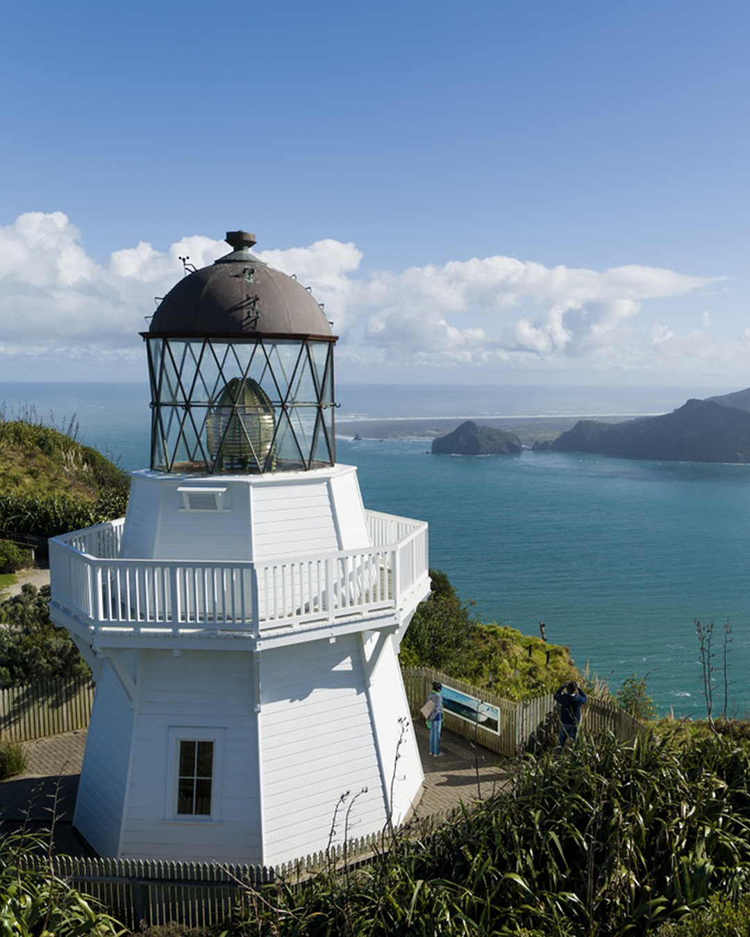 View of the lighthouse and Manukau Heads at Awhitu Peninsula