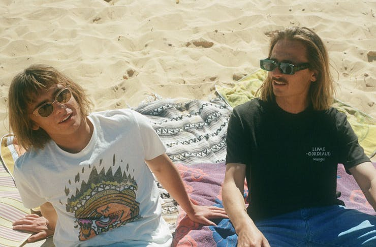 Lime Cordiale band members wearing the Wrangler x Lime Cordiale collection.