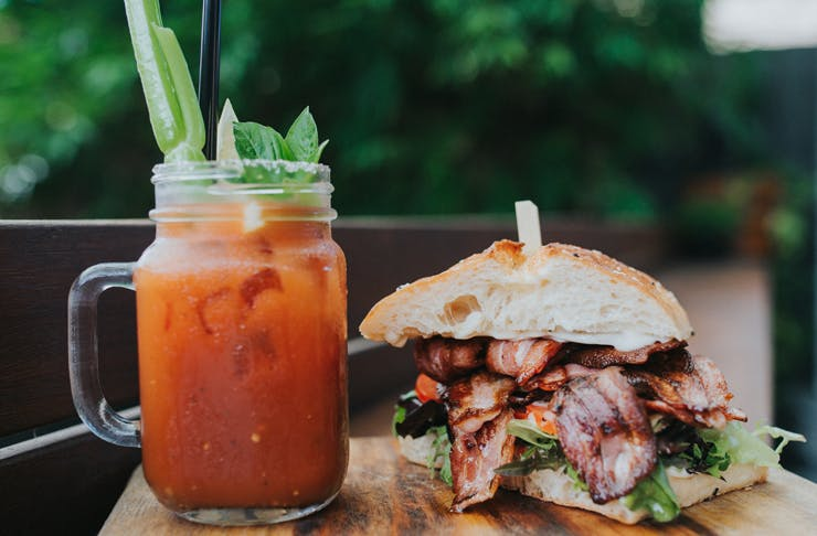a bloody mary and bacon burger