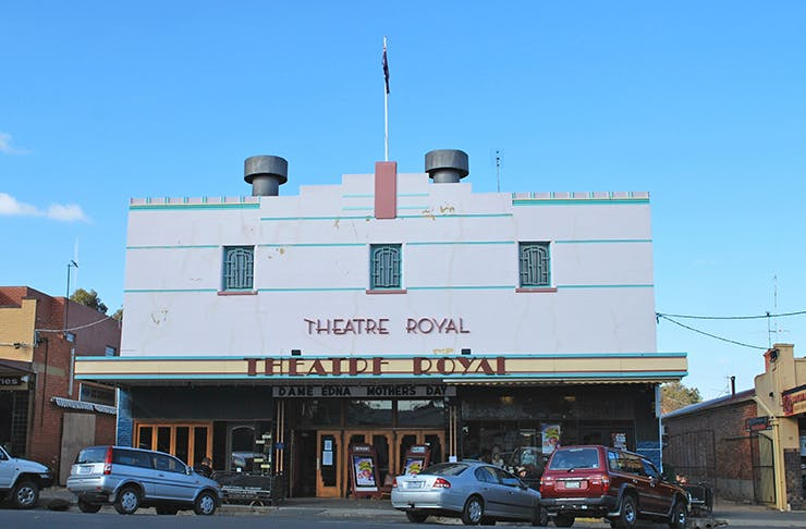 Castlemaine's Theatre Royal shining on a sunny day.