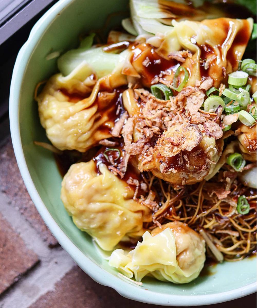 a bowl of a noodle dish