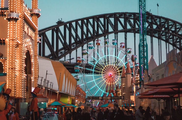 A view down the main street of Luna Park, Sydney. You can see the Harbour Bridge in the background.