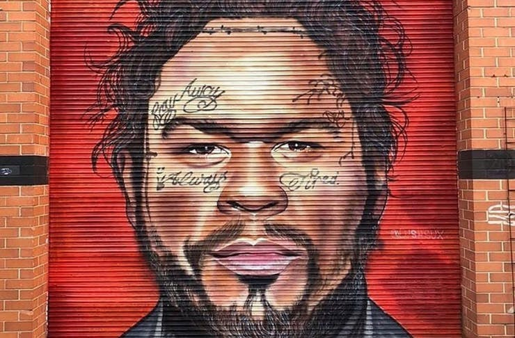 A mural of 50 Cent by Melbourne muralist Lushsux. 50 Cent is depicted in the mural as Post Malone.
