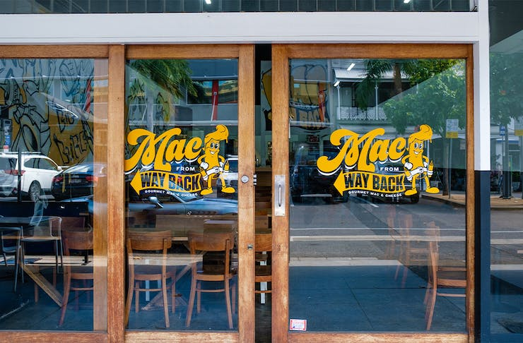 the front of mac from way back's glass doors
