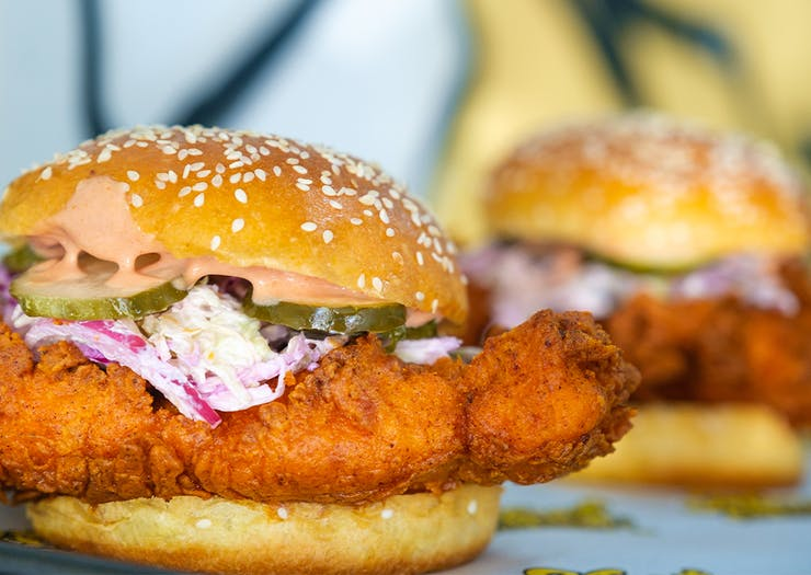 two fried chicken burgers