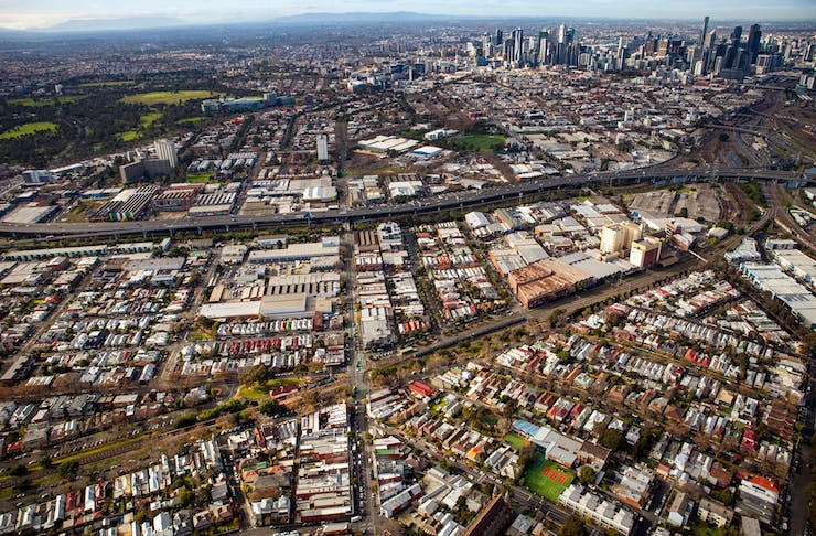 An aerial view of Melbourne with the upcoming Macaulay precinct at the bottom.