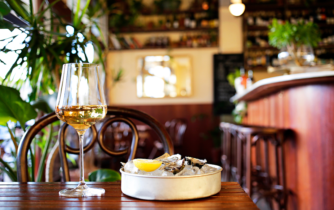 wine and oysters at Madalena's Bar in South Fremantle