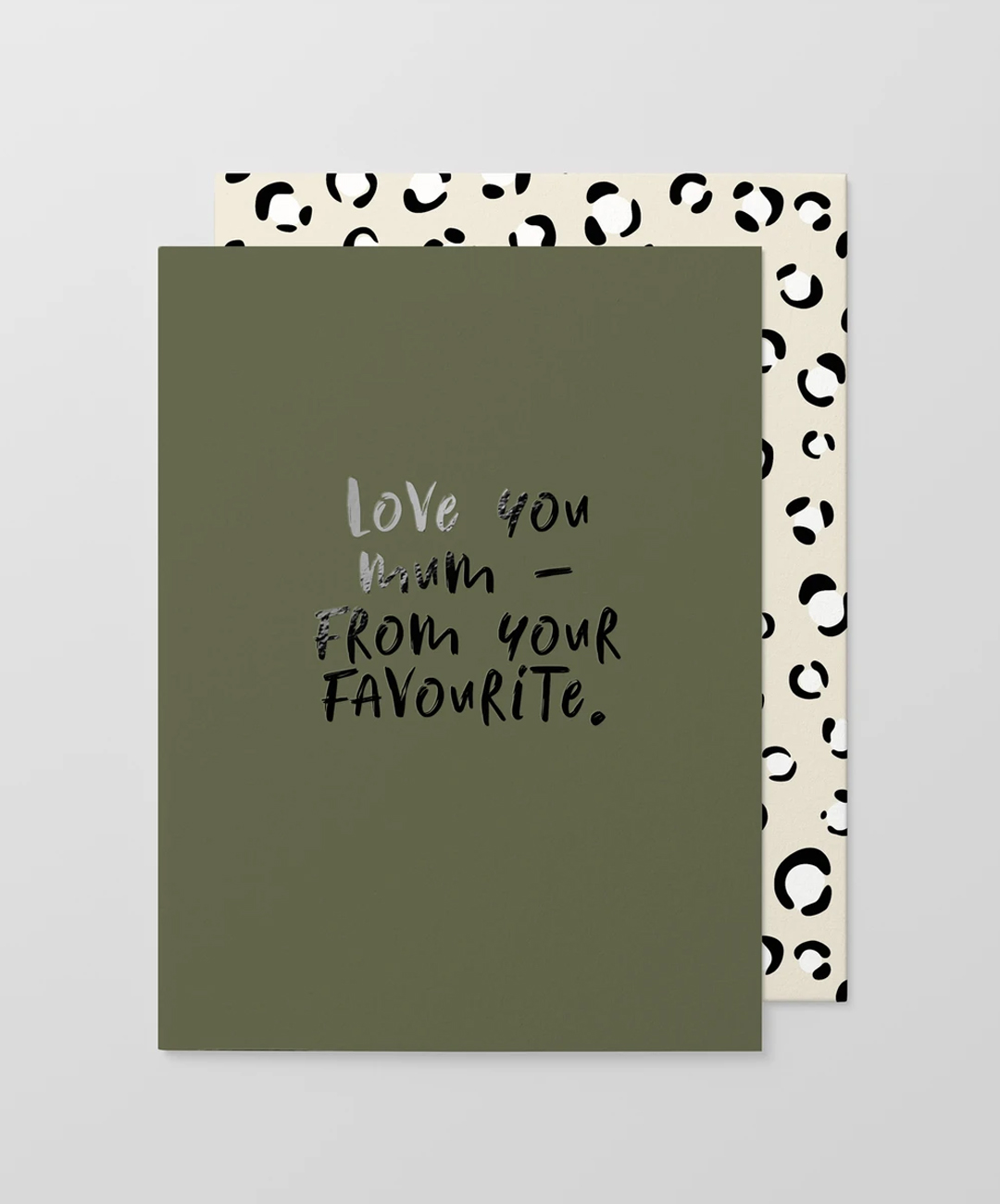 A card with the words Love you mum, from your favourite.