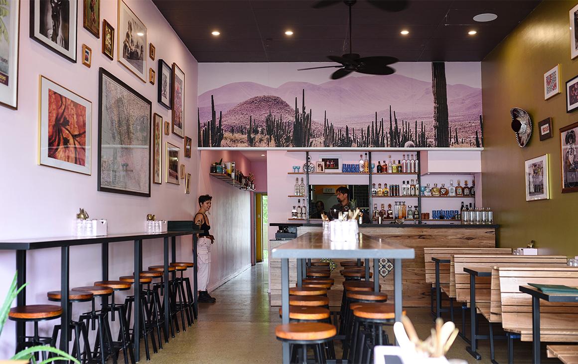 Pink interior of Mama Taco