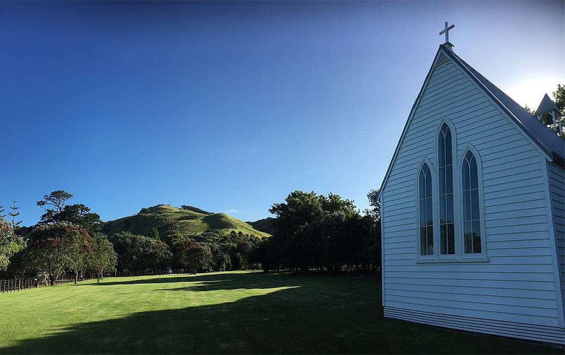 The little chapel at Man O' War vineyard, one of the most beautiful places to get married in New Zealand.