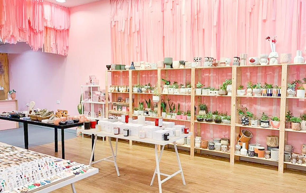 Pink interior of the Market Hub