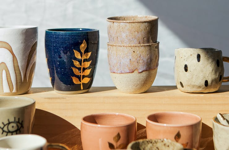 A collection of handmade pottery on the Sunshine Coast.