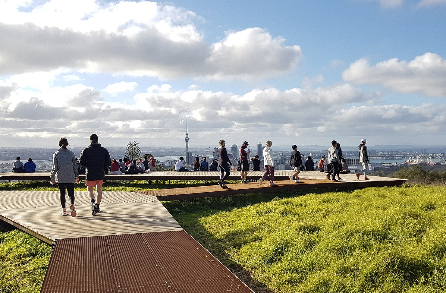 The new boardwalk at the top of Mount Eden