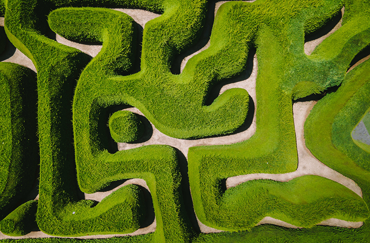 A bird's eye view of a large hedge maze.
