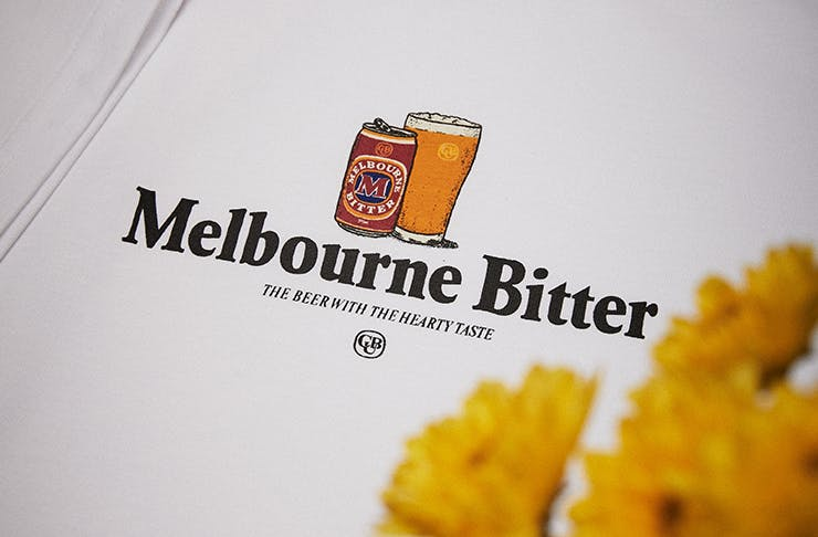 A t-shirt with the Melbourne Bitter logo on the chest.