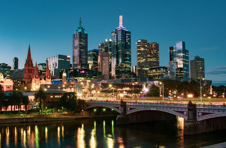 An image of Melbourne city at night.