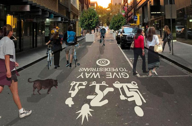A mock up of what Melbourne's 'little streets' will look like when pedestrians get right of way.
